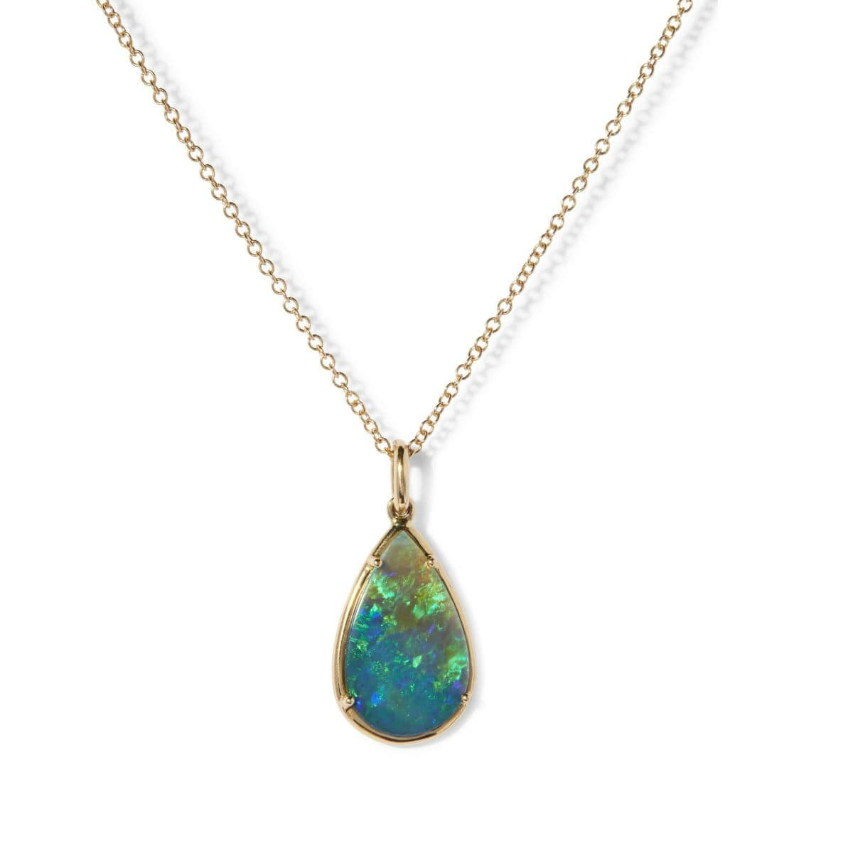 Large Tear Shape Opal 18K Gold Necklace