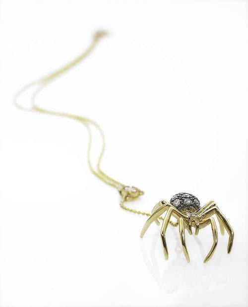 Diamond Spider Lariat Two-tone Gold Necklace - Curated Los Angeles
