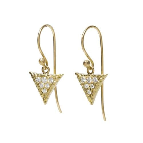 Triangular Pave Diamond Large Scale Earrings - Curated Los Angeles