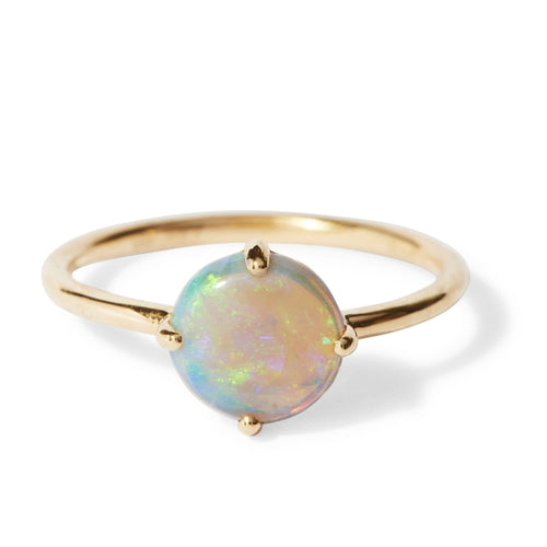 Large Round Opal Solitaire Ring