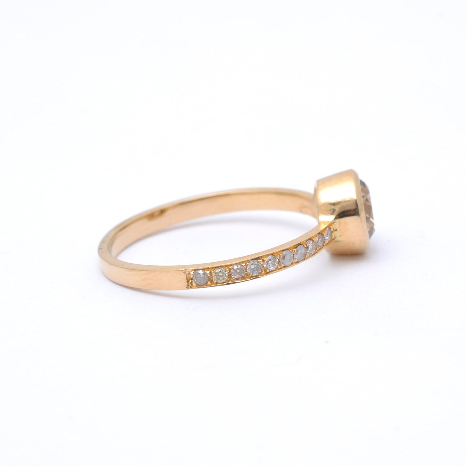 Light Brown Diamond Yellow Gold Engagement Ring