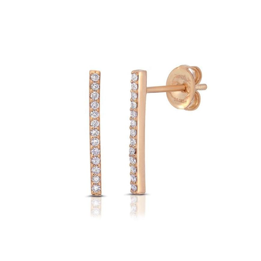 Diamond Pave Rose Gold Bar Studs
