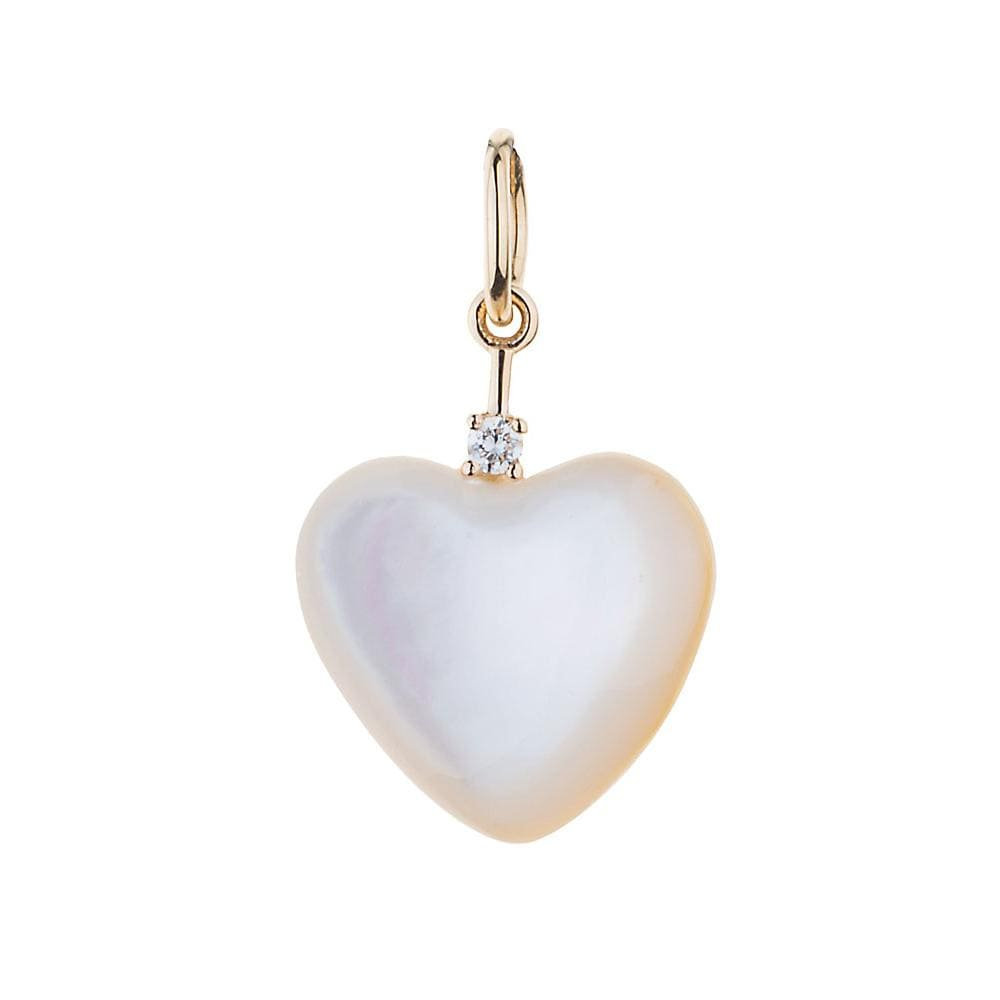 Mabe Pearl Heart Diamond Accent Gold Charm