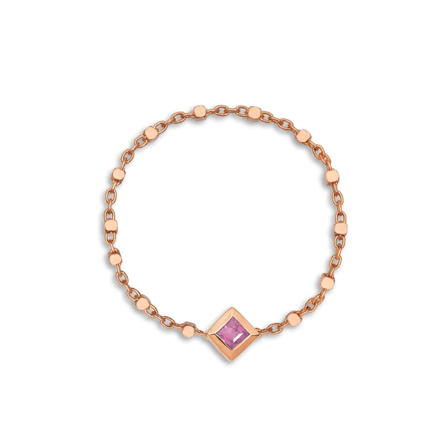Princess Cut Pink Sapphire Rose Gold Chain Ring Ziba