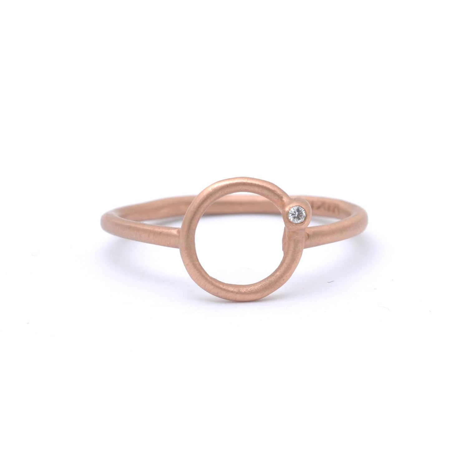 Matte Rose Gold Open Circle Diamond Ring