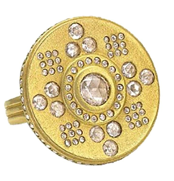 Medallion Disc Diamond Ring