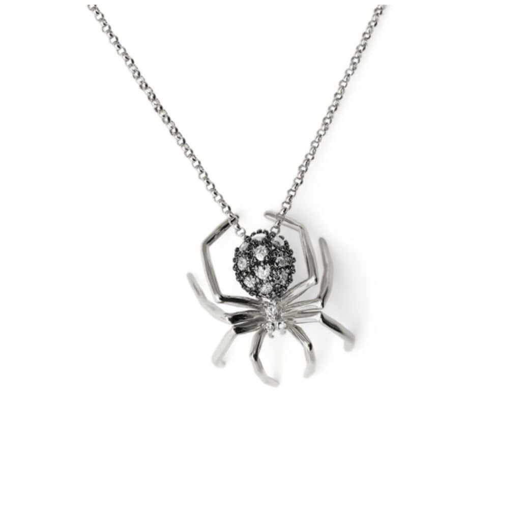 Medium Diamond Spider Two-tone Necklace