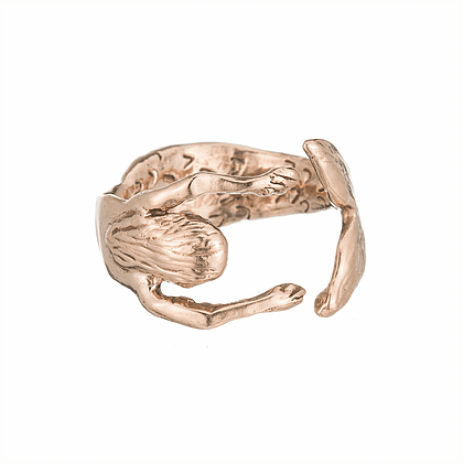 Secret Diamond Mermaid Hug Rose Gold Ring - Curated Los Angeles