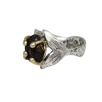 Mermaid Hug Ammonite Fossil Two-tone Ring - Curated Los Angeles