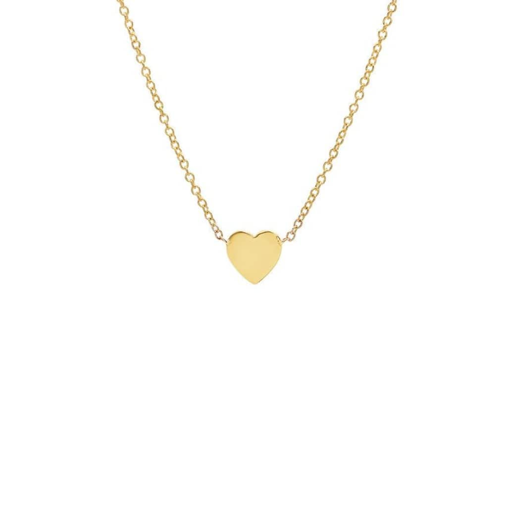 Small Flat Heart 14k Gold Chain Necklace - Curated Los Angeles