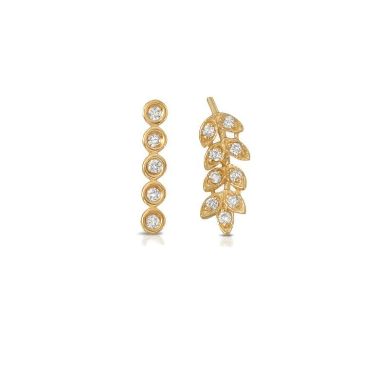 Diamond Leaf Diamond Line Mismatch Studs