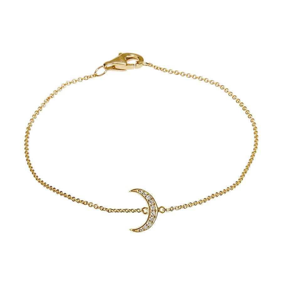 Crescent Moon Diamond Station Bracelet