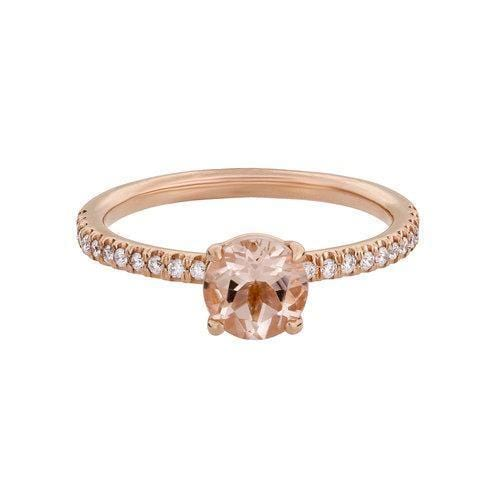 Morganite Diamond Rose Gold Ring