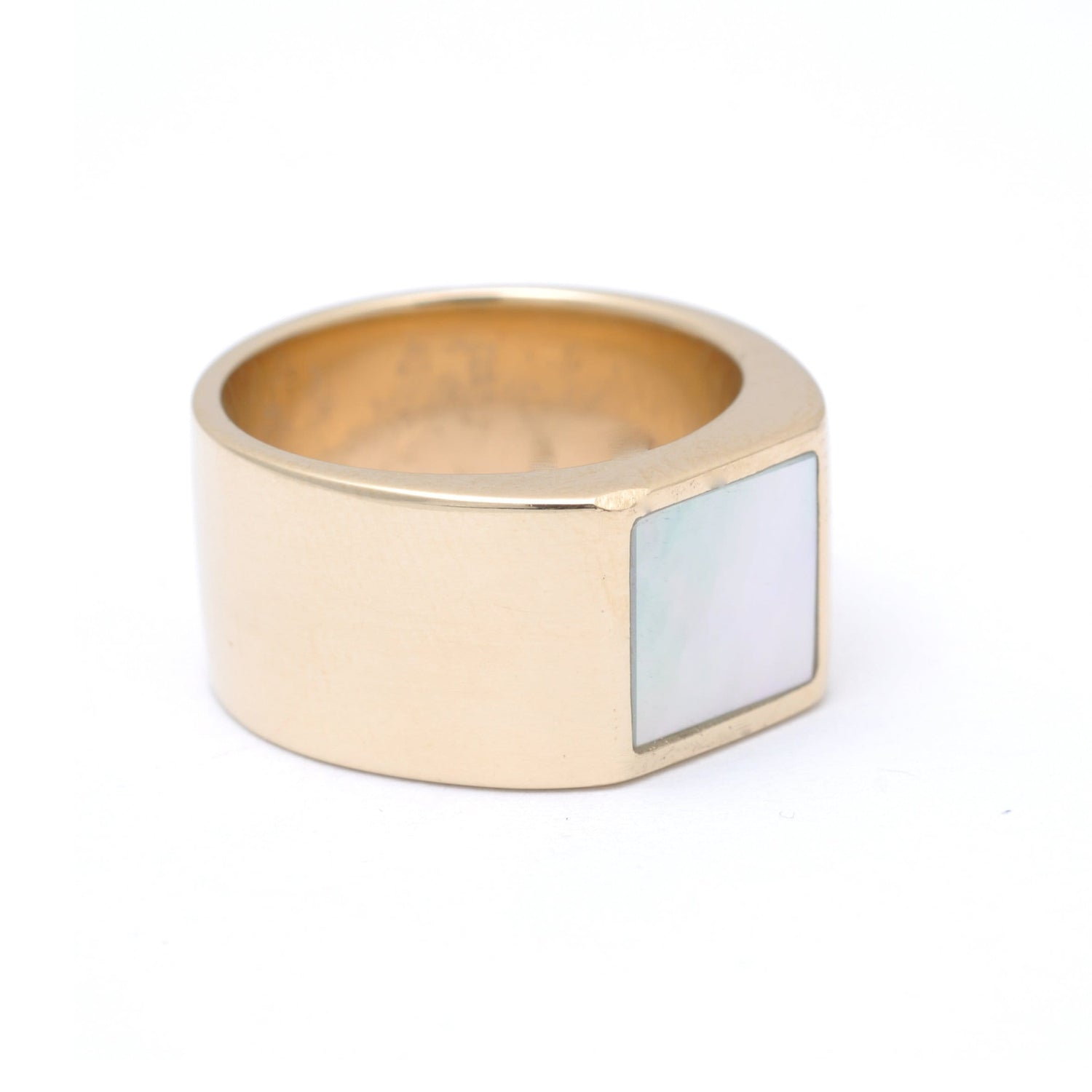 Mother of Pearl Square Inlay Gold Ring