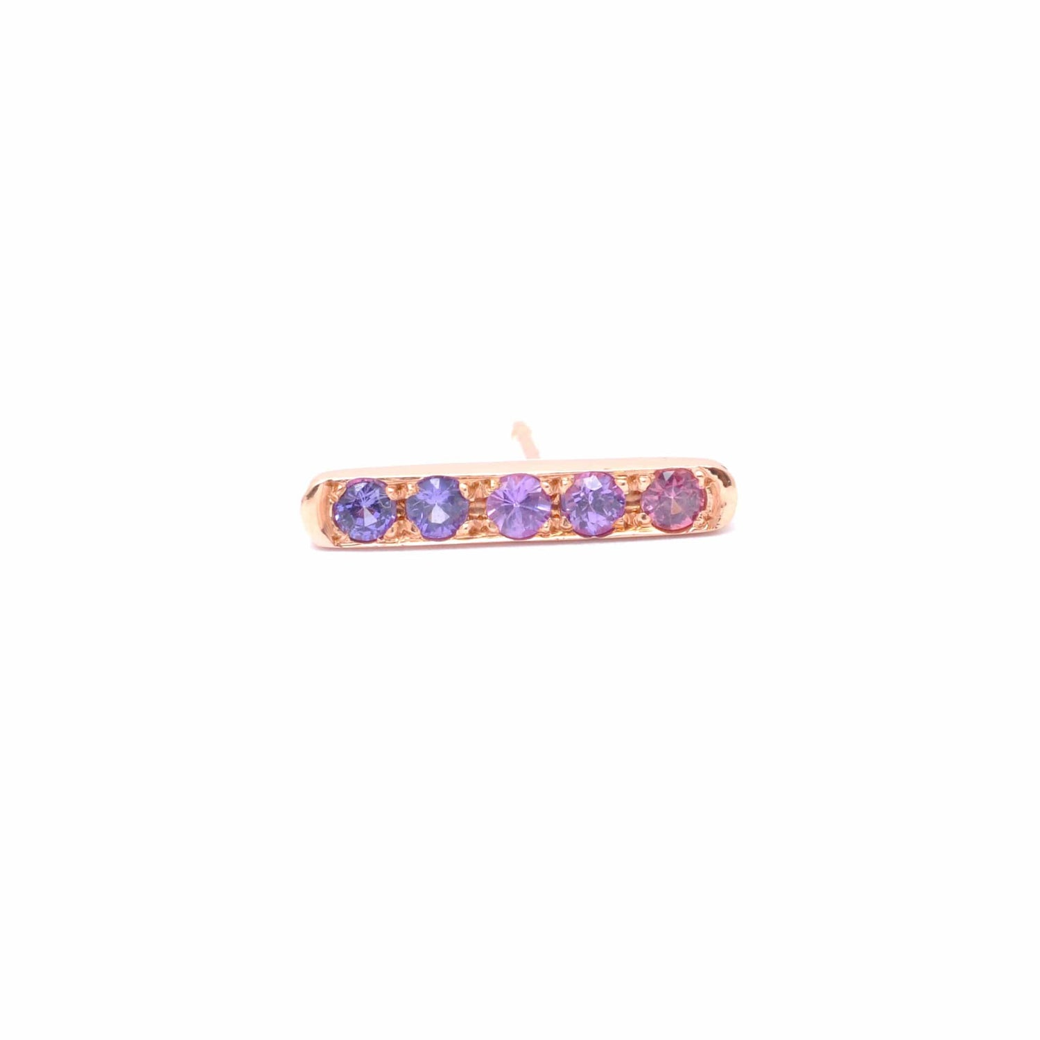 Ombre Purple Sapphire Rose Gold Bar Stud