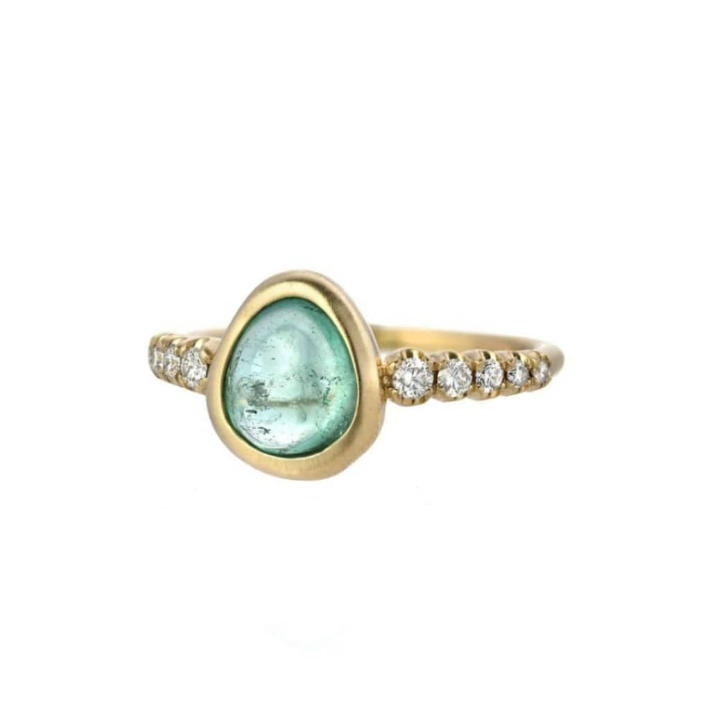 Diamond Muzo Emerald Yellow Gold Ring