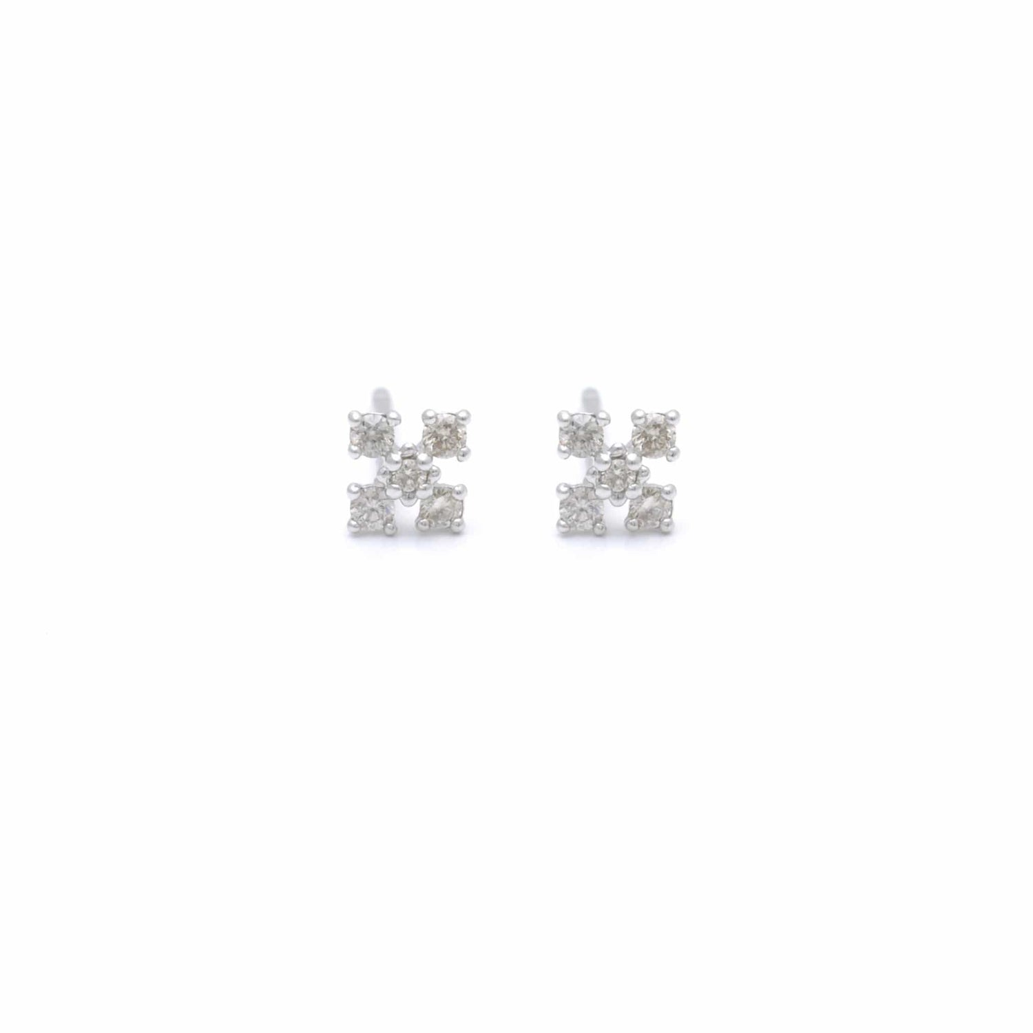Diamond Occitan Cross White Gold Studs
