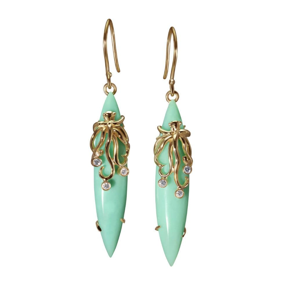 Chrysoprase Diamond Octopus Dangle Earrings - Curated Los Angeles