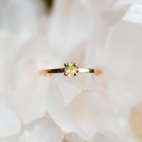 Petite Rainbow Opal Rose Gold Ring