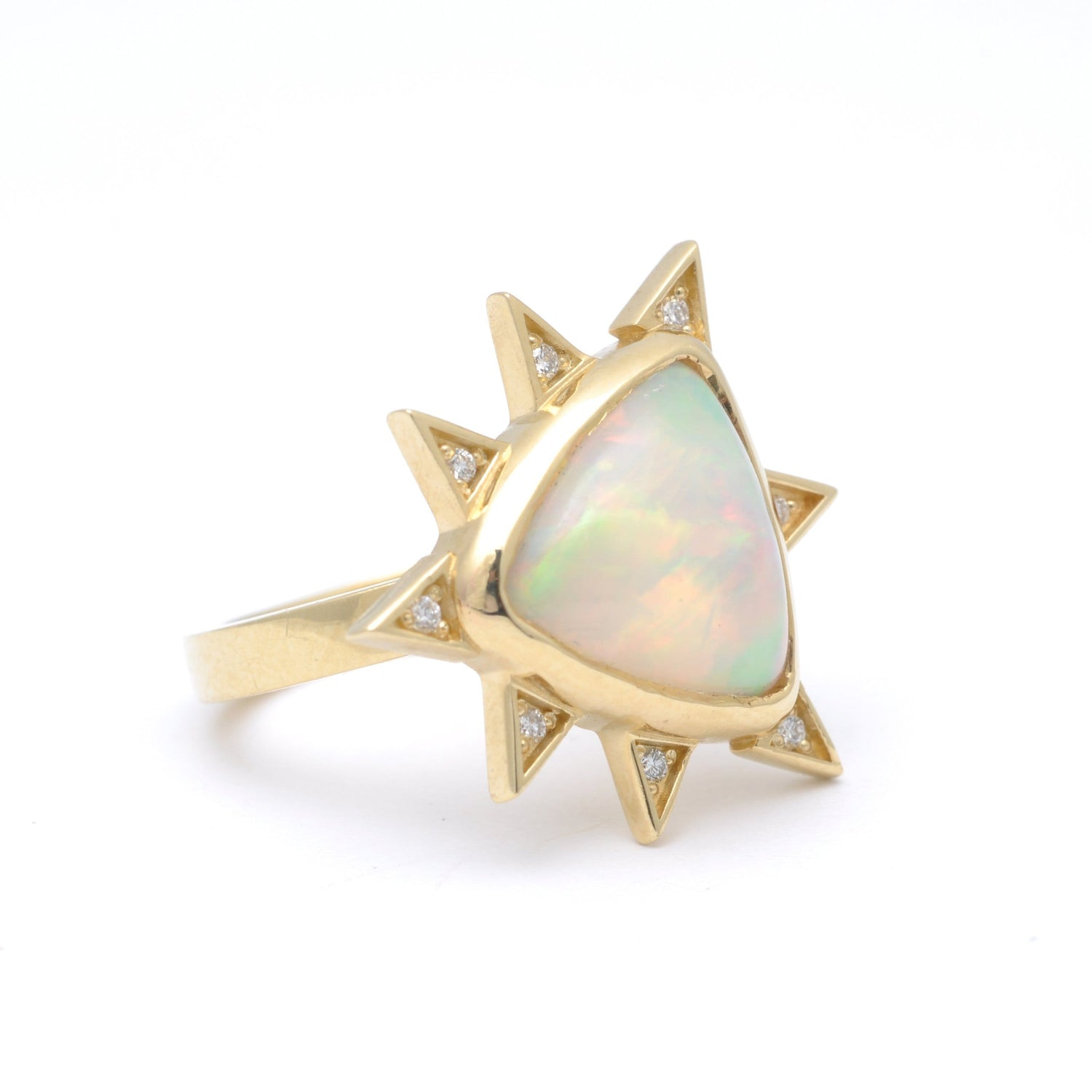 Trillion Opal Diamond Starburst Cocktail Ring