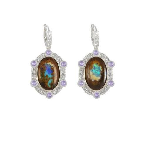Boulder Opal Purple Sapphire Cabochon Drop Earrings - Curated Los Angeles