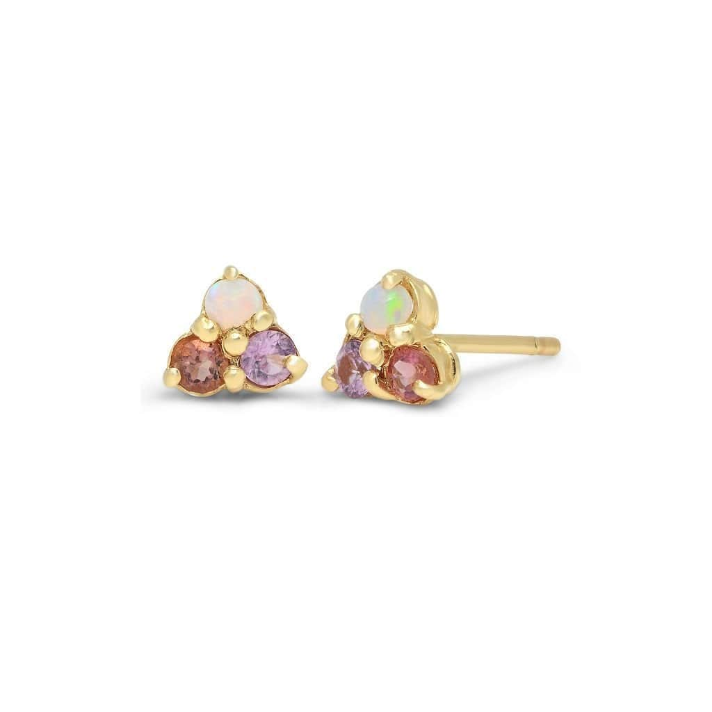 Opal Pink and Purple Sapphire Trio Cluster Earrings - Curated Los Angeles