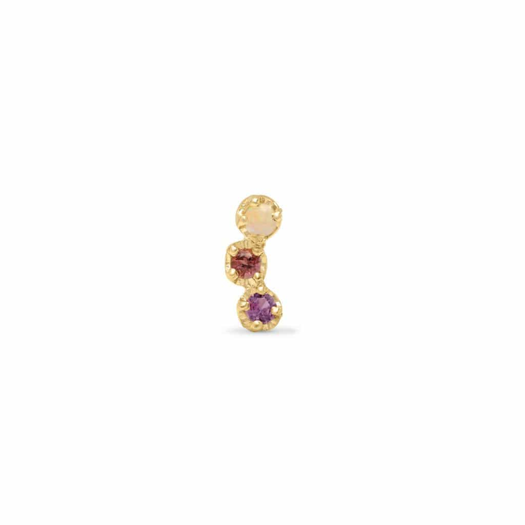 Opal Pink and Purple Sapphire Crescent Single Stud Earring - Curated Los Angeles