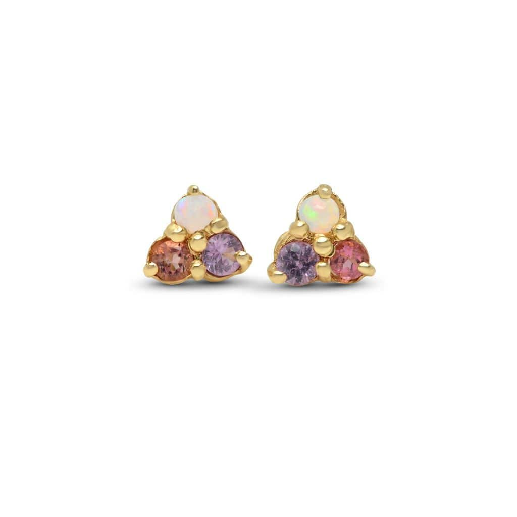 Opal Pink and Purple Sapphire Trio Cluster Earrings