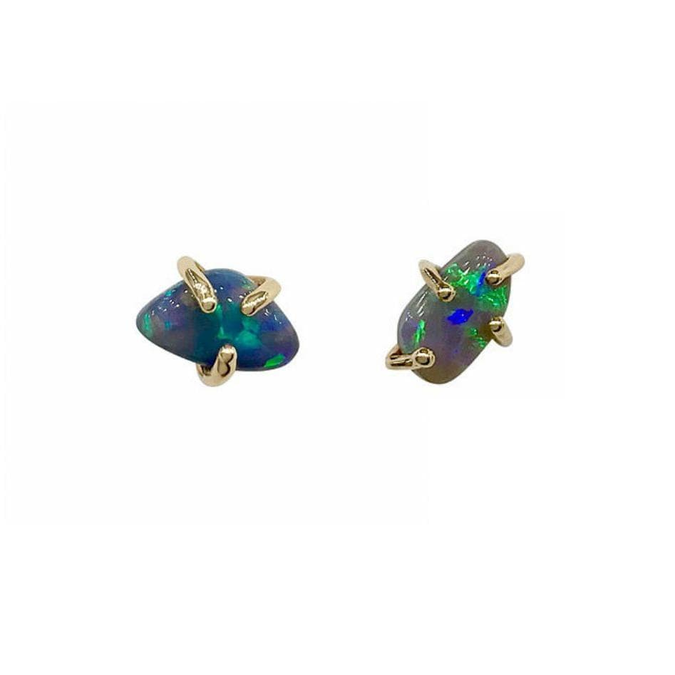 Asymmetrical Opal Yellow Gold Claw Studs - Curated Los Angeles
