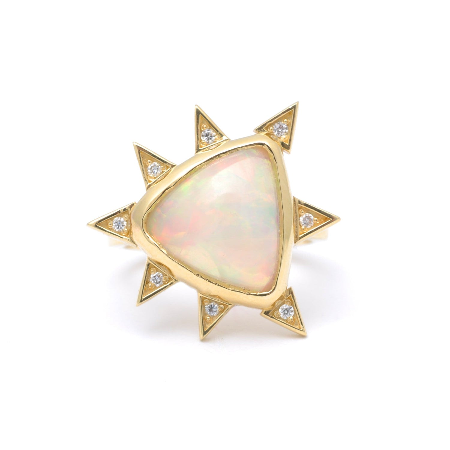 Trillion Opal Diamond Starburst Statement Ring