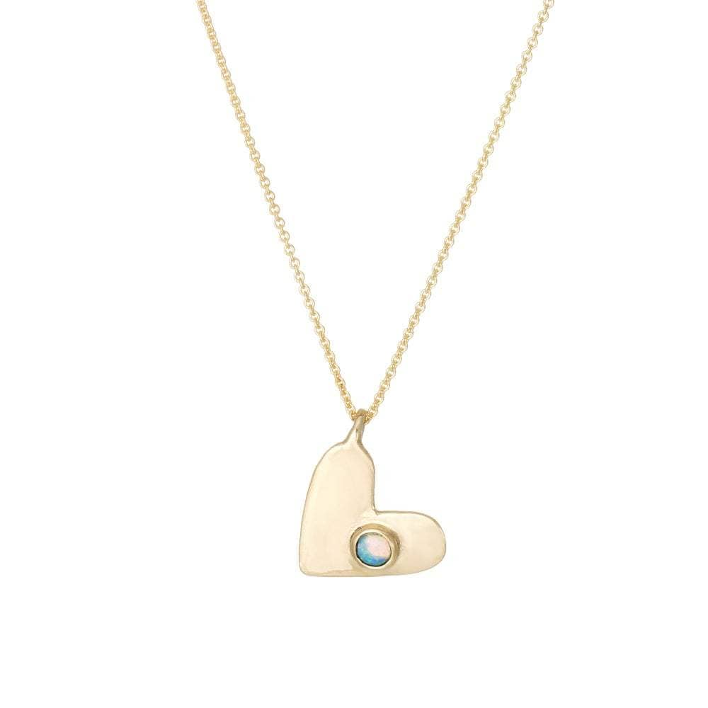 Opal Yellow Gold Heart Necklace
