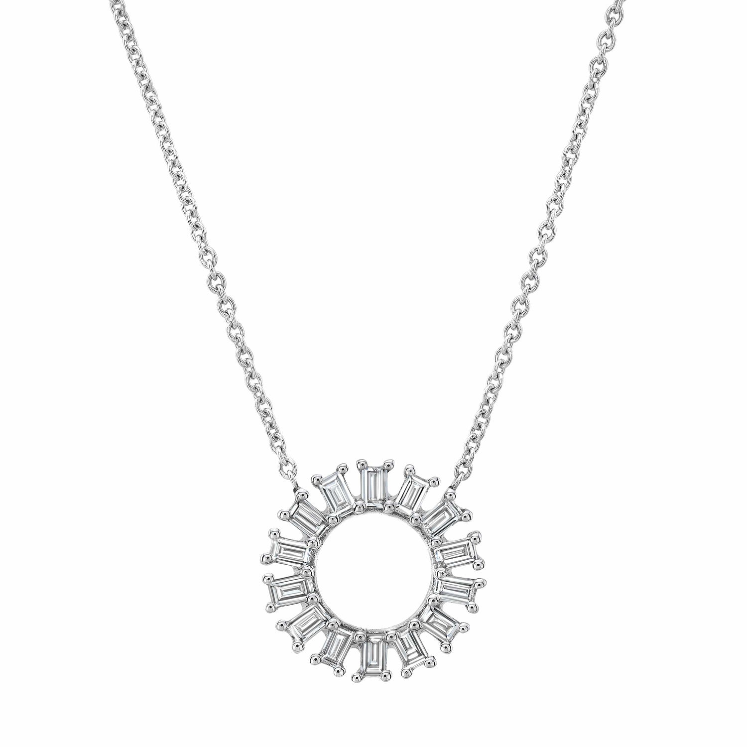 Baguette Diamonds Open Circle White Gold Necklace