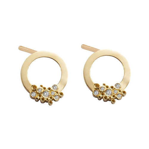 Yellow Gold Circle Diamond Cluster Studs