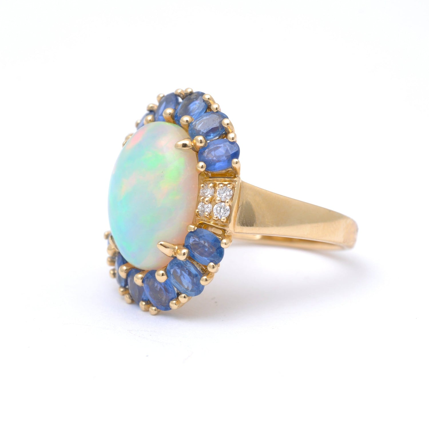 Large Opal Blue Sapphire Diamond Ring