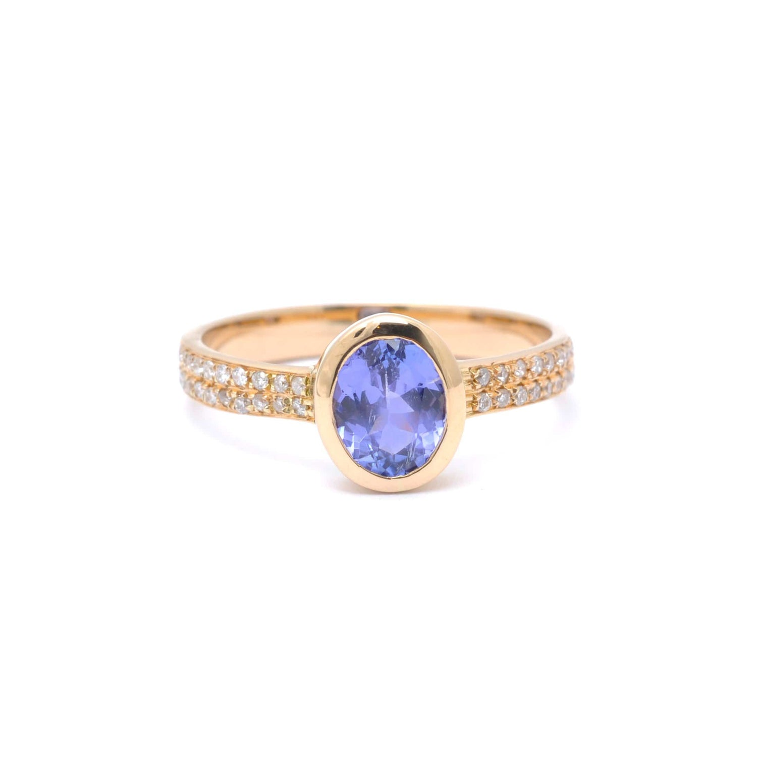 Oval Tanzanite Diamond Gold Ring
