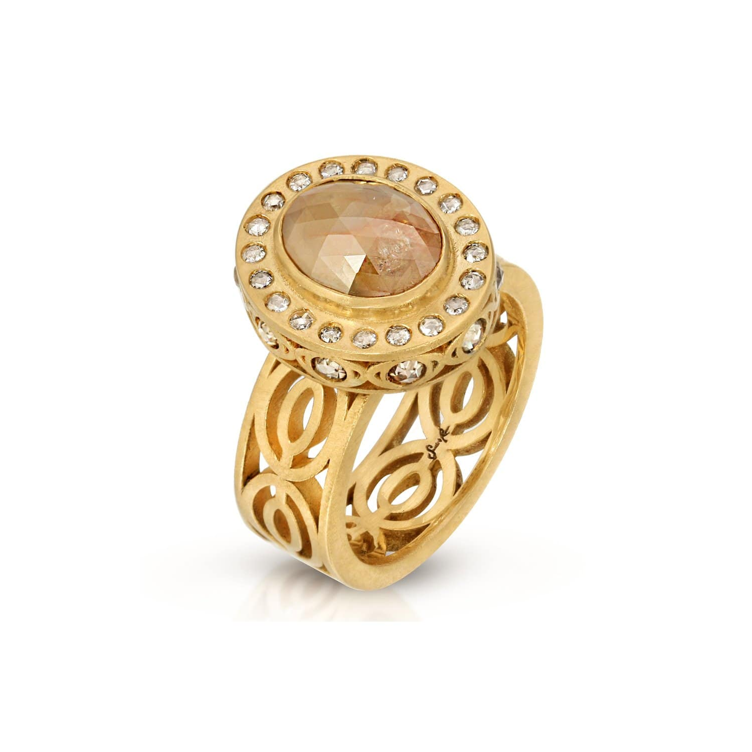 Oval Rose Cut Brown Diamond Cocktail Ring