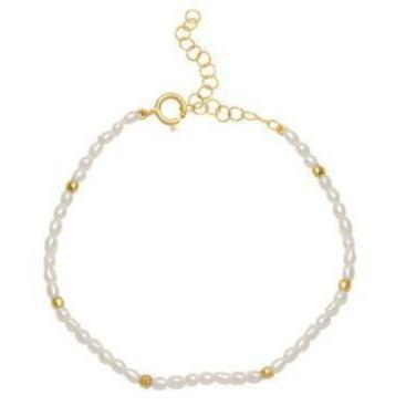 Small Pearl Gold Bead Bracelet