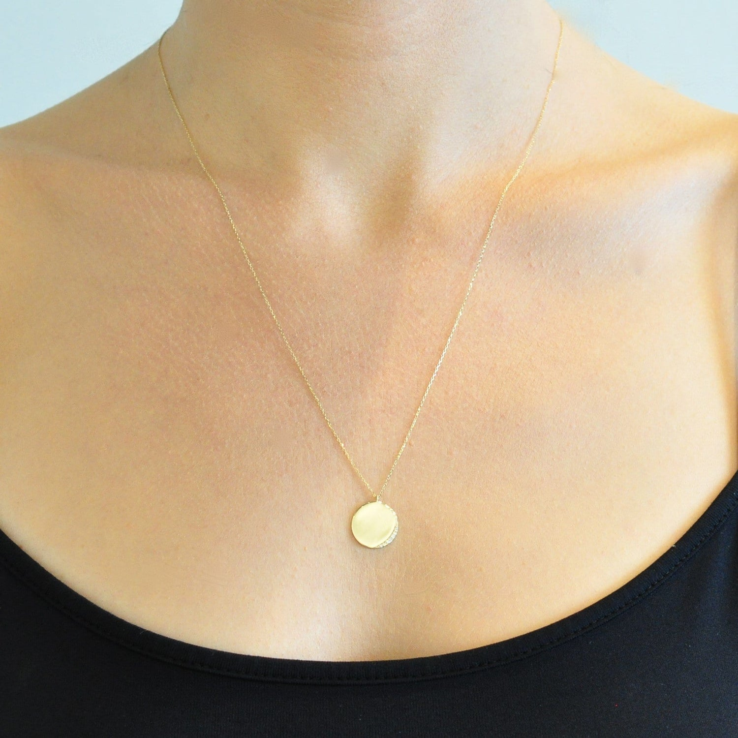 Gold Circle Diamond Crescent Necklace