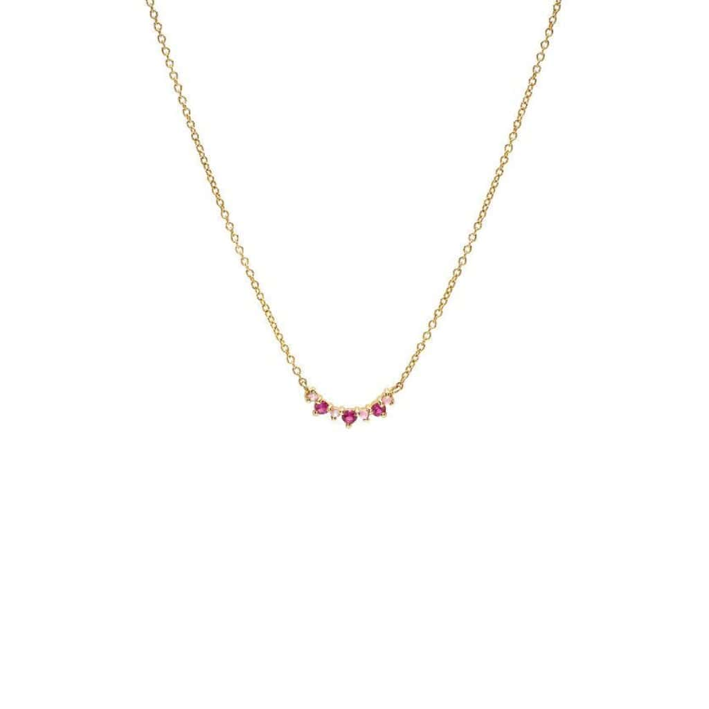Pink Sapphire Mini Horizontal Crescent 14k Necklace - Curated Los Angeles