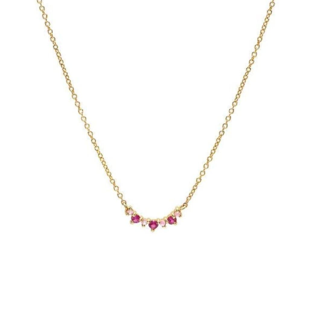 Pink Sapphire Mini Horizontal Crescent Necklace - Curated Los Angeles