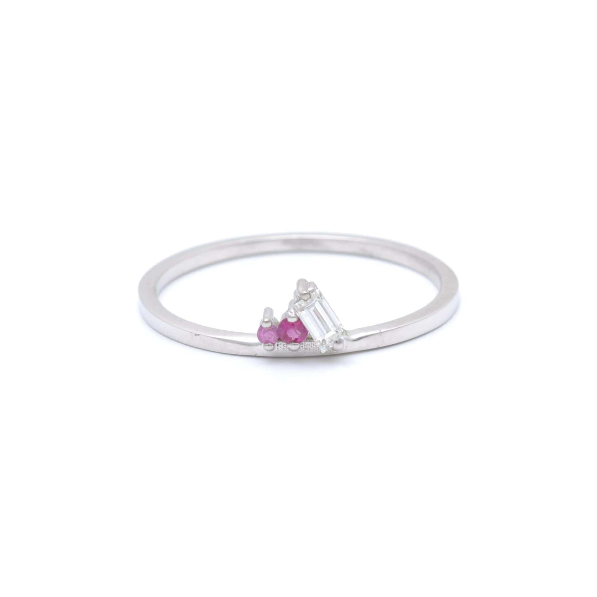 Diamond Ruby Pink Sapphire Petite White Gold Ring