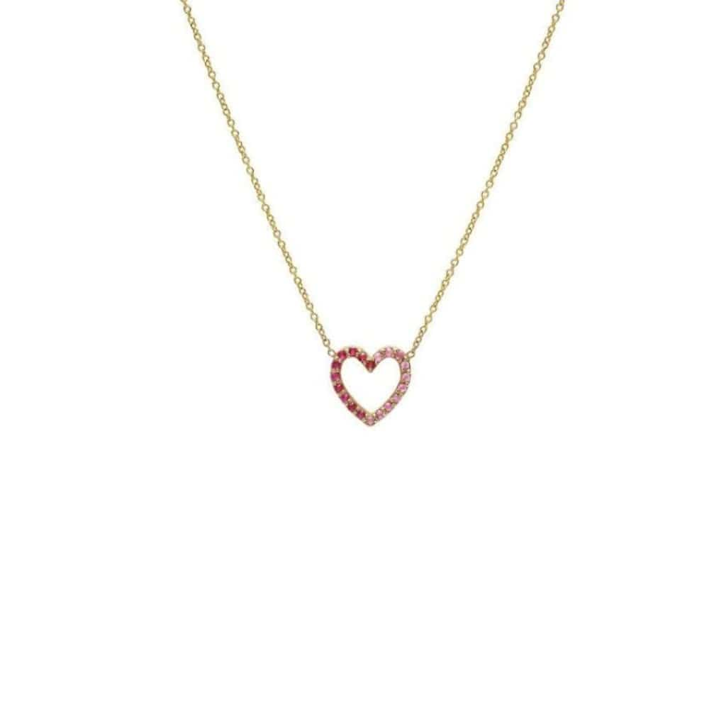 Pink Sapphire Pave Heart Gold Necklace - Curated Los Angeles
