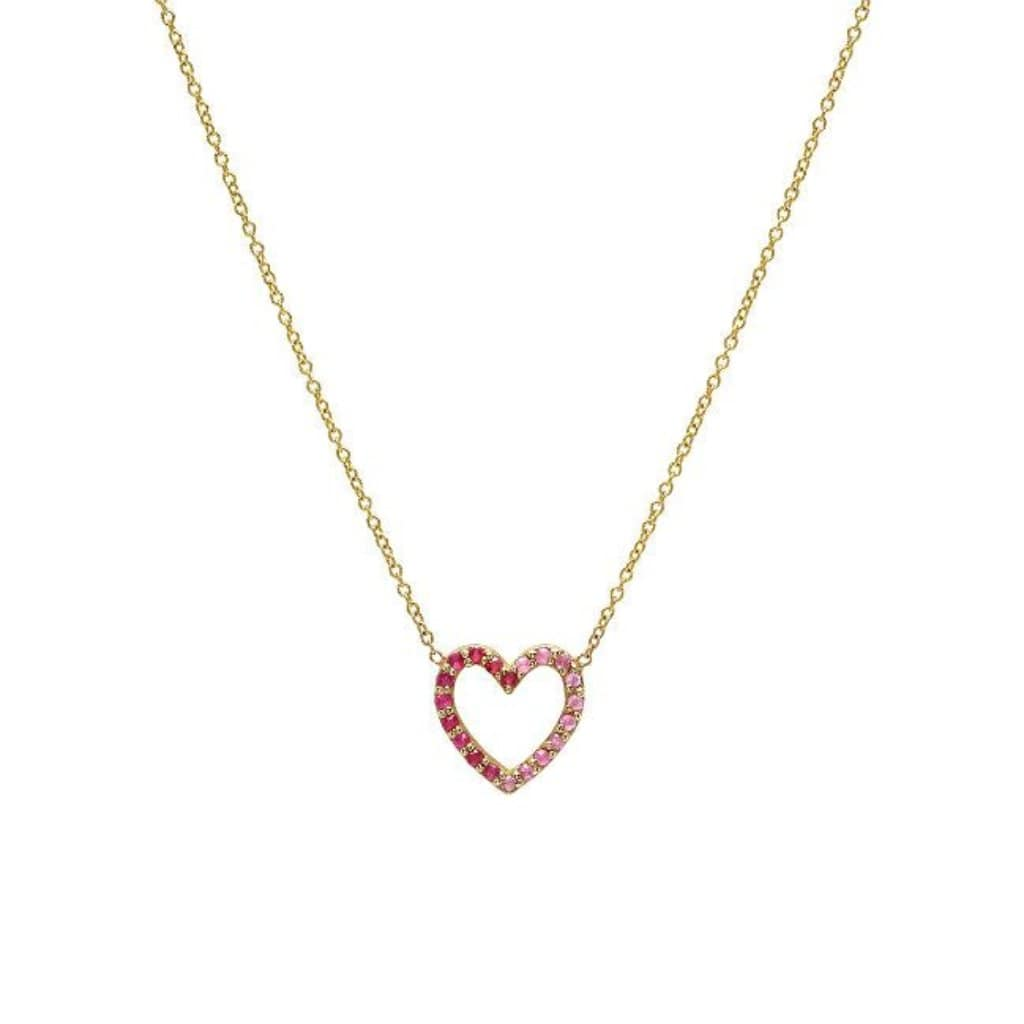Pink Sapphire Pave Heart 14k Necklace - Curated Los Angeles