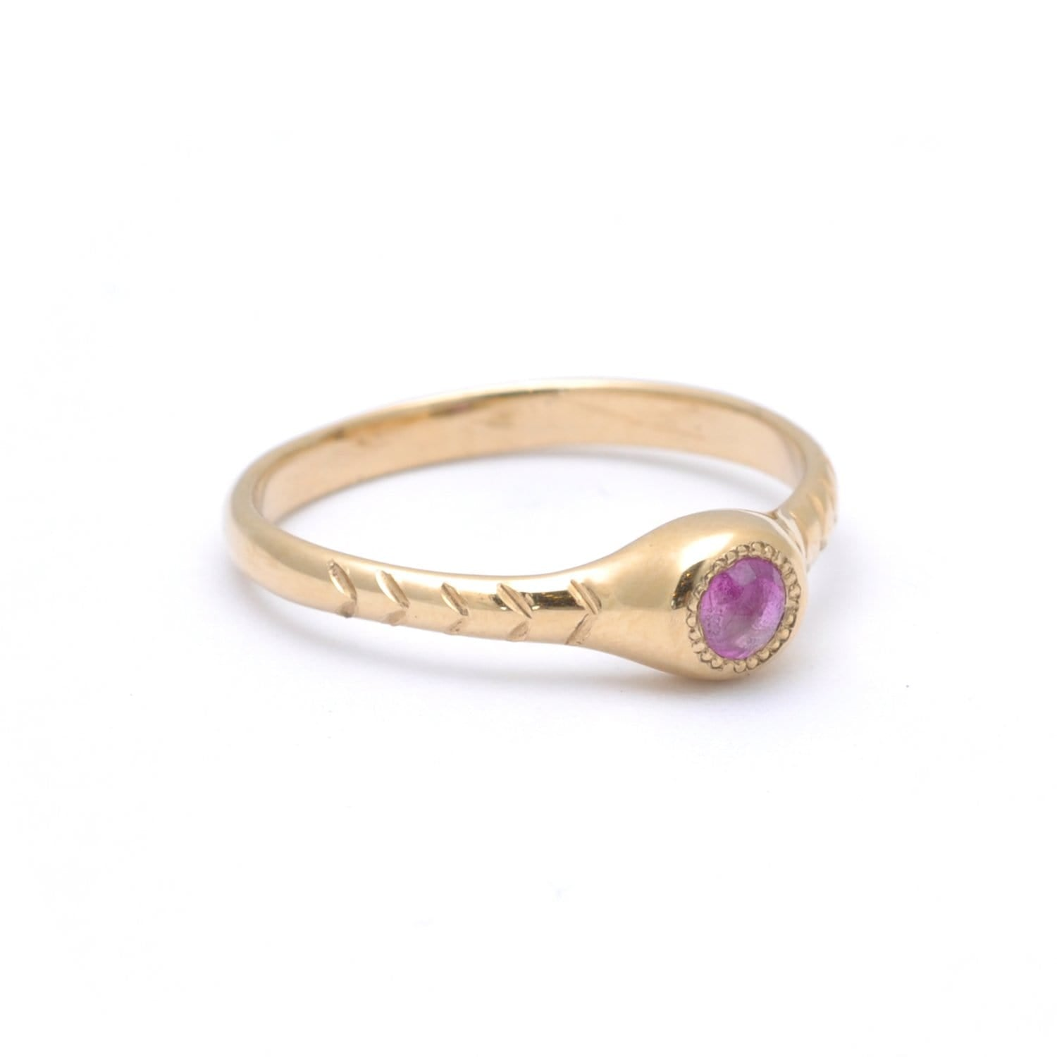 Round Pink Sapphire Petite Gold Ring