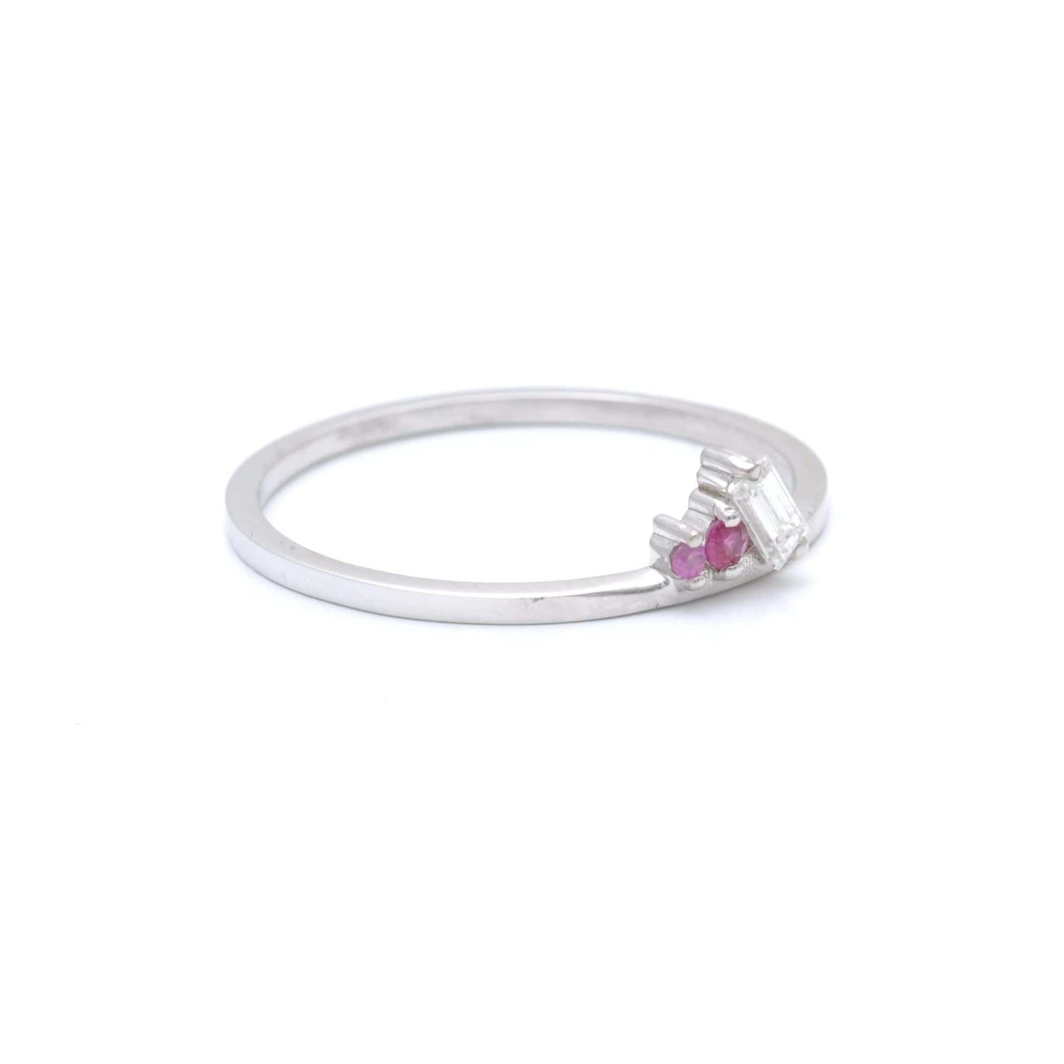 Diamond Ruby Pink Sapphire Delicate White Gold Ring