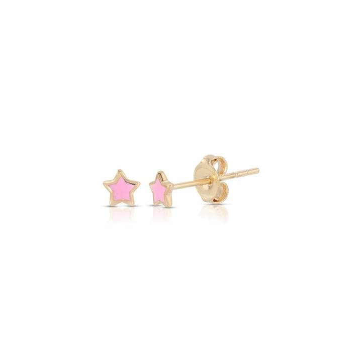 Pink and Blue Enamel Yellow Gold Star Studs