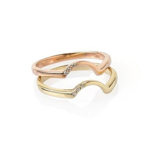 Diamond 14k Rose Gold Arc Band - Curated Los Angeles
