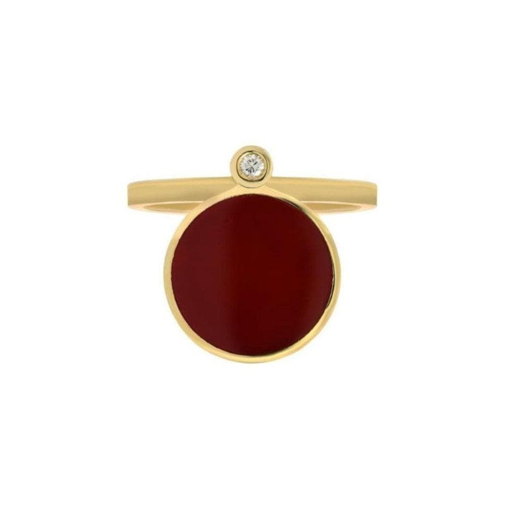 Bindi Big Red Enamel Diamond Yellow Gold Ring