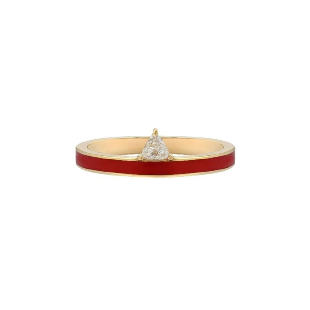 Red Enamel Diamond Trillion Devotion Ring