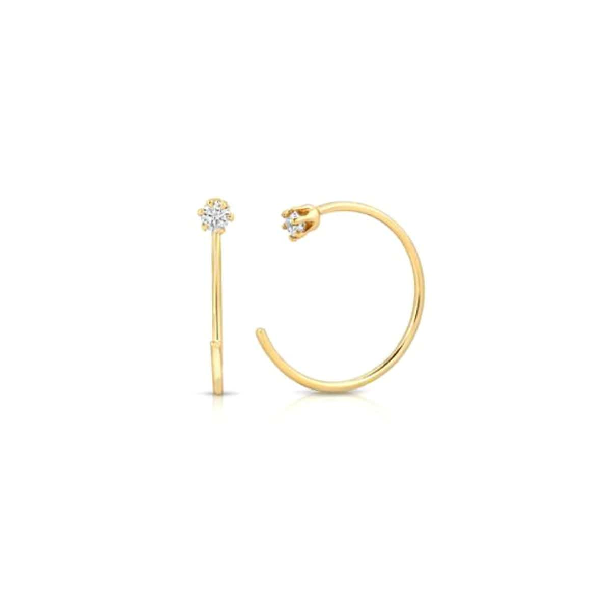 Diamond Reverse Gold Hoop Earrings